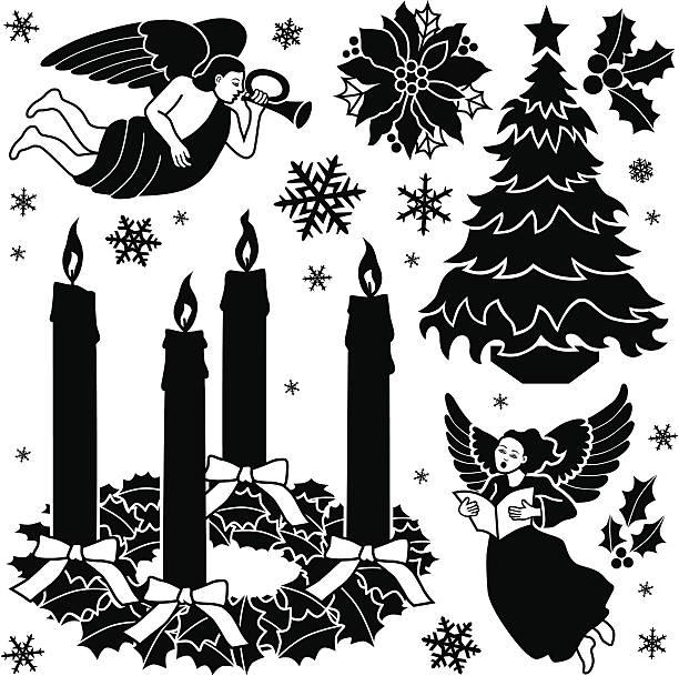 ilustrações, clipart, desenhos animados e ícones de christian natal elementos de design - advento