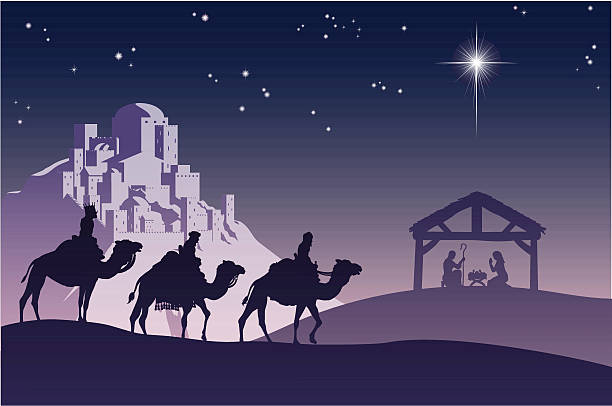 Christian Christmas Nativity Scene Illustration of traditional Christian Christmas Nativity scene with the three wise men going to meet baby Jesus in the manger. nativity silhouette stock illustrations