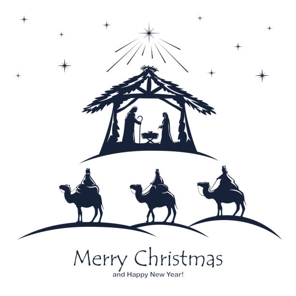 Christian Christmas on White Background Christian Christmas. Birth of Jesus, shining star and three wise men on white background. Illustration can be used for holiday design, cards, clothing or things design, invitations, postcards, banners nativity silhouette stock illustrations