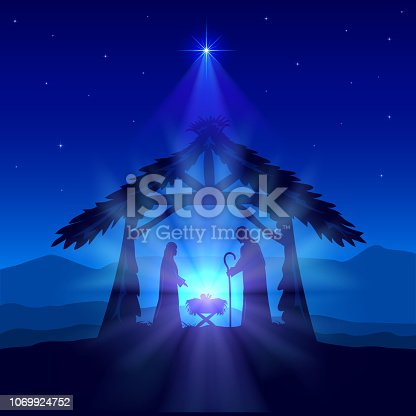 Holiday theme. Blue christian background with Christmas star and birth of Jesus, illustration.