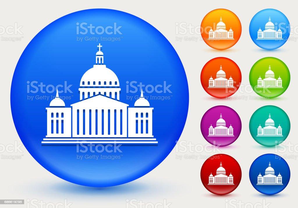 Icône de Christian Church sur le cercle de couleur brillante boutons icône de christian church sur le cercle de couleur brillante boutons – cliparts vectoriels et plus d'images de affaires finance et industrie libre de droits