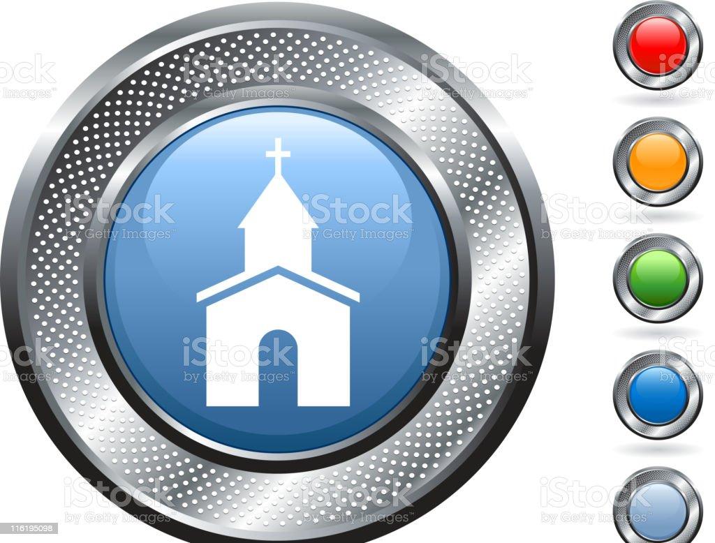 Christian church royalty free vector art on metallic button royalty-free stock vector art