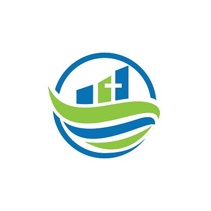 Christian church vector logo design.
