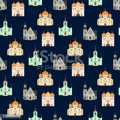Christian churches seamless pattern. Church buildings background. Building chapel and church, catholic architecture pattern illustration