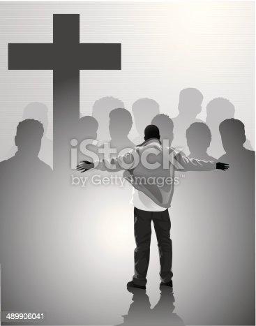 Christian people facing the christian cross.