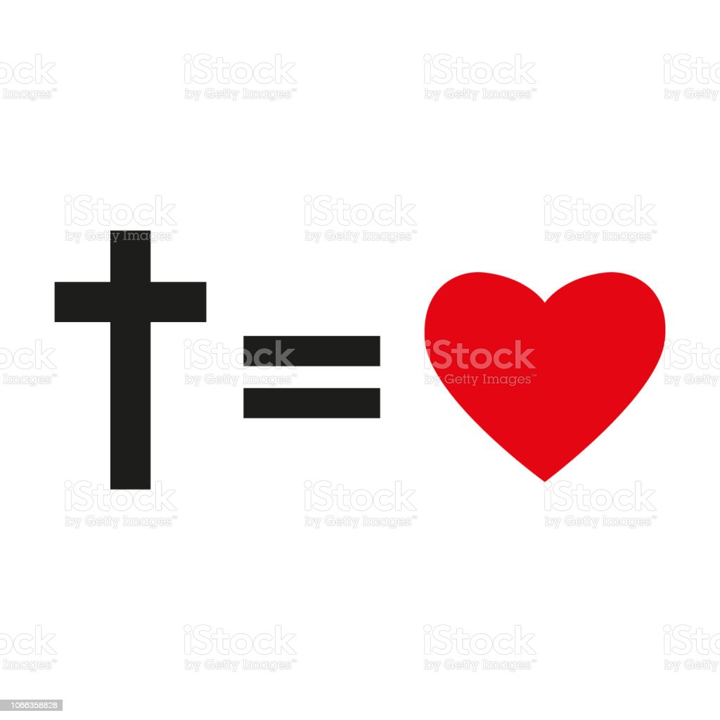 Christian Cross And Silhouette Of Heart Symbol Of Christian Love