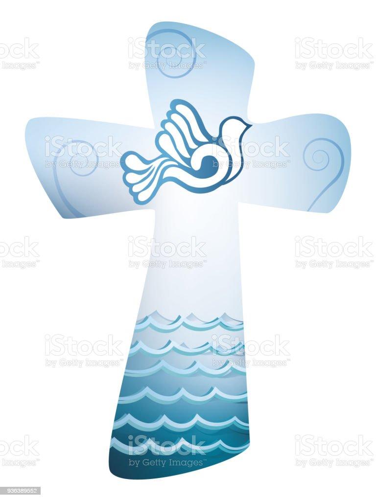 Die Christliche Taufe Kreuz Heiligen Geist Symbol Mit Taube