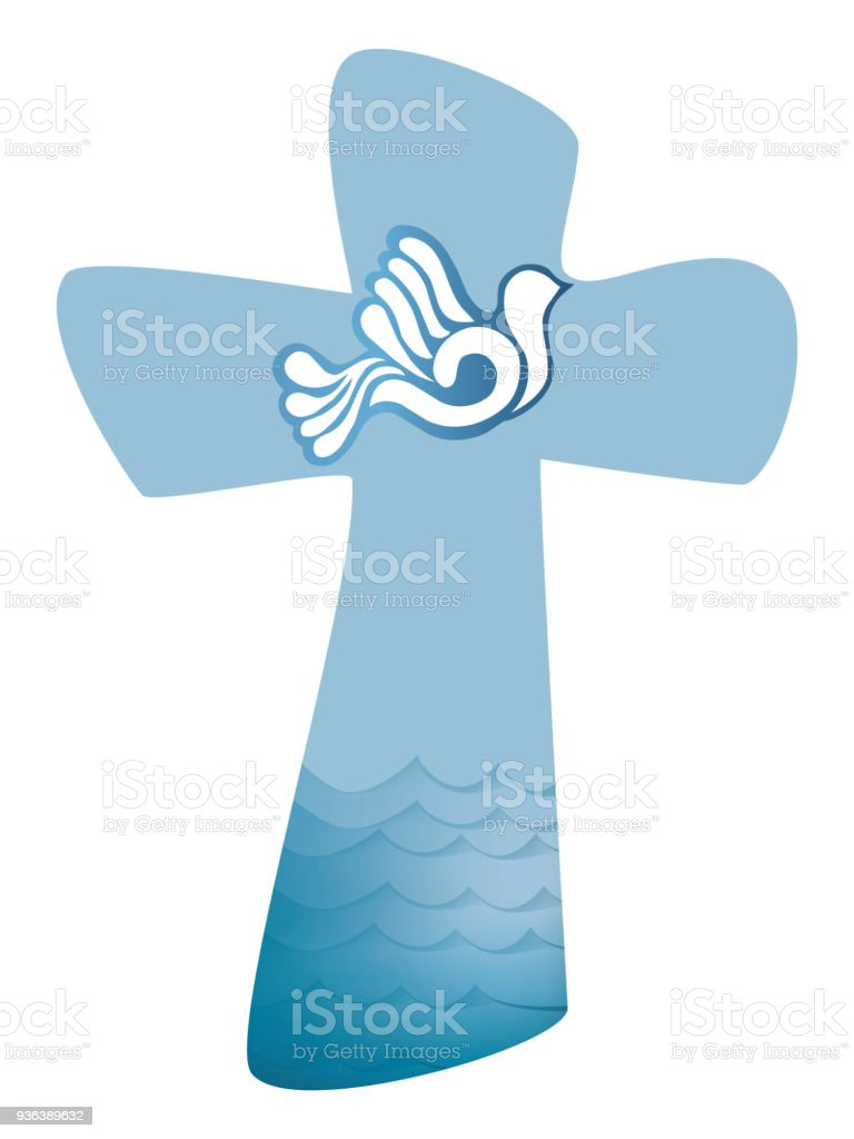 Christian Cross Baptism Holy Spirit Symbol With Dove And Waves Of