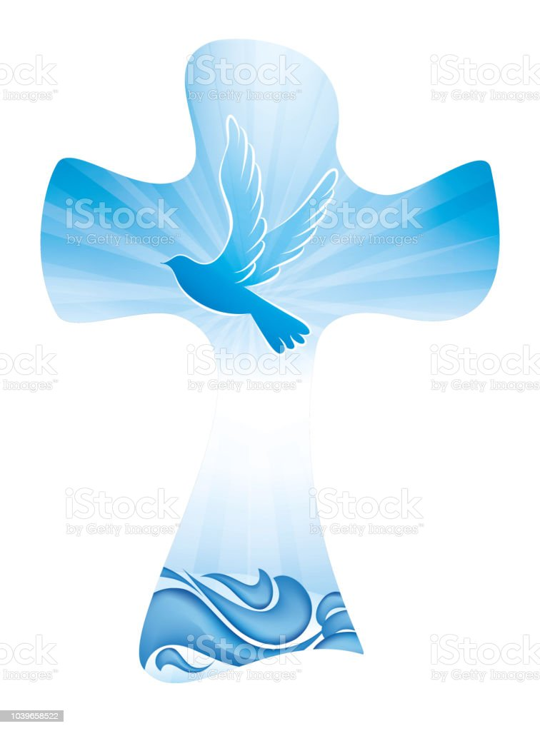 Christian Cross Baptism Symbol With Dove And Waves Of Water On Blue