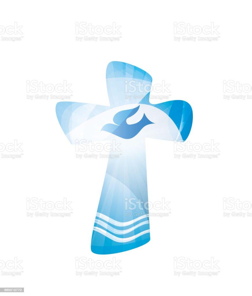 Christian cross baptism with waves of water and dove on blue background. Religious sign. Multiple.exposure - ilustração de arte vetorial