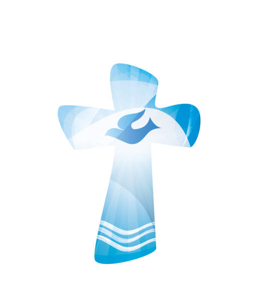 christian cross baptism with waves of water and dove on blue background. religious sign. multiple.exposure - baptism stock illustrations, clip art, cartoons, & icons
