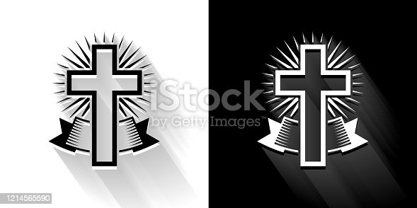 Christian Cross  Black and White Icon with Long Shadow. This 100% royalty free vector illustration is featuring the square button and the main icon is depicted in black and in white with a black icon on it. It also has a long shadow to give the icons more depth.. This 100% royalty free vector illustration is featuring the square button and the main icon is depicted in black and in white with a black icon on it. It also has a long shadow to give the icons more depth.