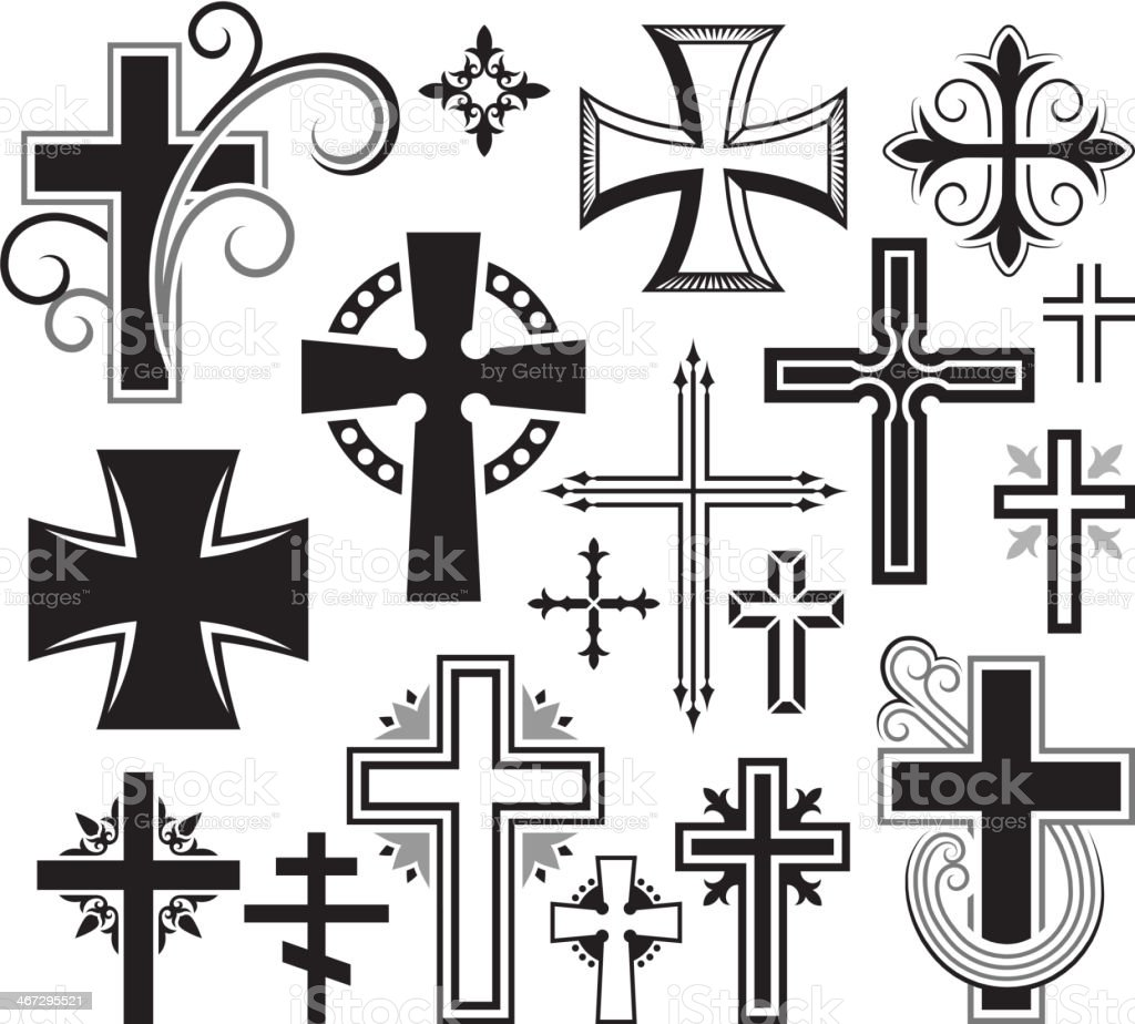 christian cross black and white royalty free vector icon set stock