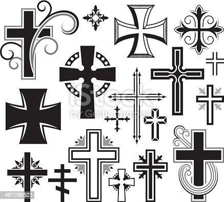Christian Cross black and white icon set