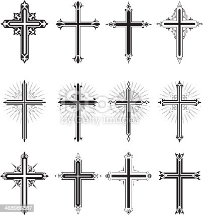 Christian Cross black and white icon set