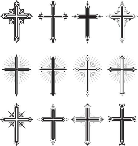 Christian Cross black and white royalty free vector icon set Christian Cross black and white icon set religious cross stock illustrations