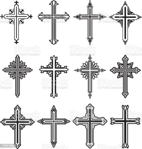 Christian cross black and white royalty free vector icon set vector id470518365?b=1&k=6&m=470518365&s=612x612&h=an utgfjtnuwolozjamdt3ojb ahqu3aebg690pe32s=