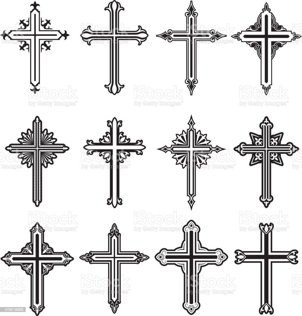 Christian Cross Black and White royalty free vector icon set vector art illustration