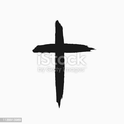 Christian cross drawn by hand with a rough brush. Grunge icon, symbol, logo. Sketch, watercolor, paint, graffiti. Isolated vector illustration.