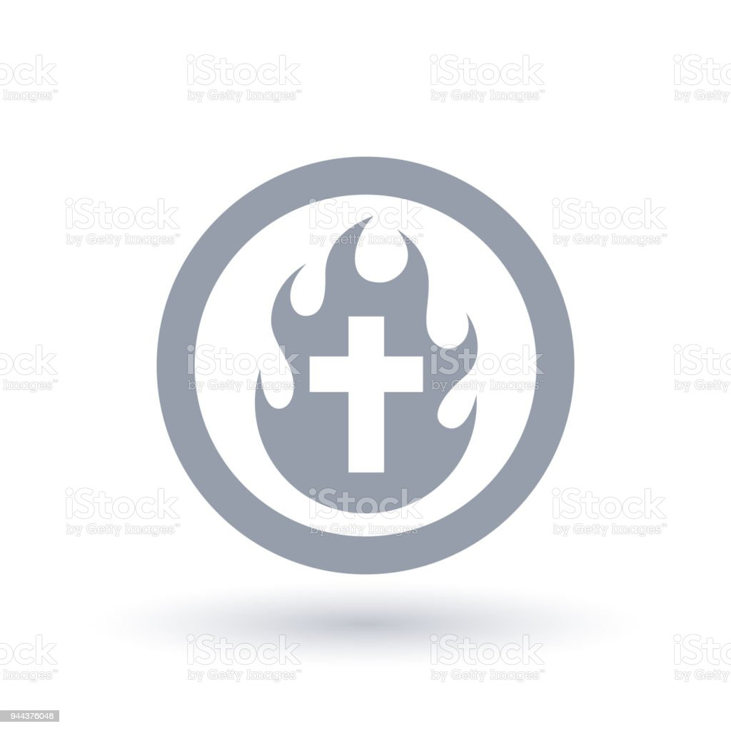 Christian Cross Fire Icon Holy Spirit Flame And Crucifix Symbol