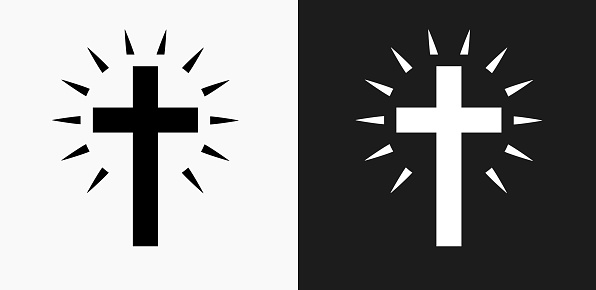 Christian Cross Icon on Black and White Vector Backgrounds