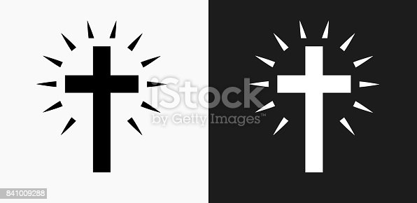 Christian Cross Icon on Black and White Vector Backgrounds. This vector illustration includes two variations of the icon one in black on a light background on the left and another version in white on a dark background positioned on the right. The vector icon is simple yet elegant and can be used in a variety of ways including website or mobile application icon. This royalty free image is 100% vector based and all design elements can be scaled to any size.