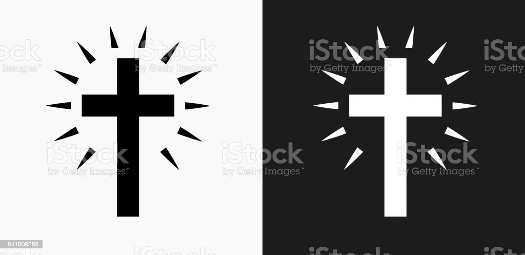 Christian Cross Icon on Black and White Vector Backgrounds vector art illustration