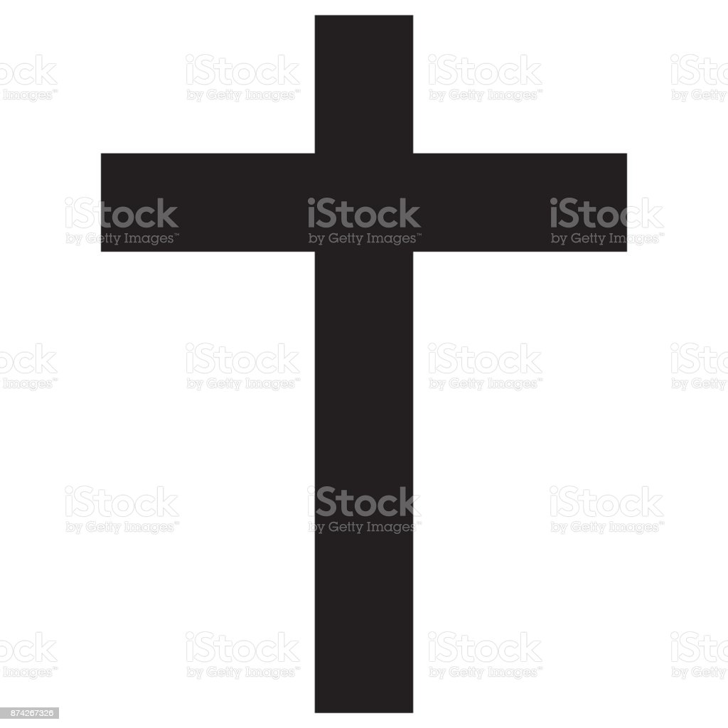 Christian cross icon vector art illustration