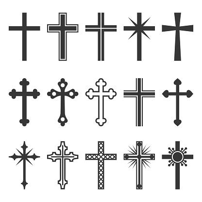 Christian Cross Icons Set on White Background. Vector illustration