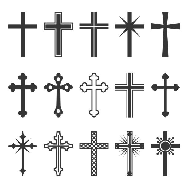 Christian Cross Icons Set on White Background. Vector Christian Cross Icons Set on White Background. Vector illustration church stock illustrations