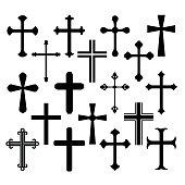 Christian cross icons set
