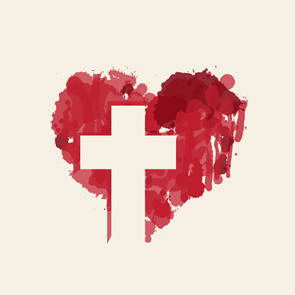 christian cross in the abstract red heart inside