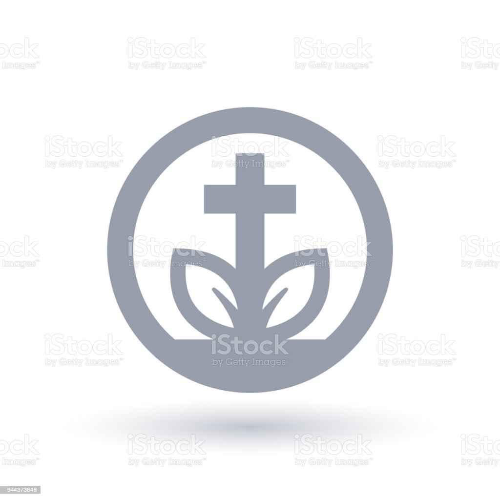 Christian Cross Leaf Icon Spiritual Growth Symbol Stock Vector Art