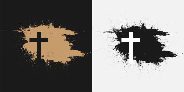 Christian cross, symbol of death and salvation. Christian cross, symbol of death and salvation. church stock illustrations