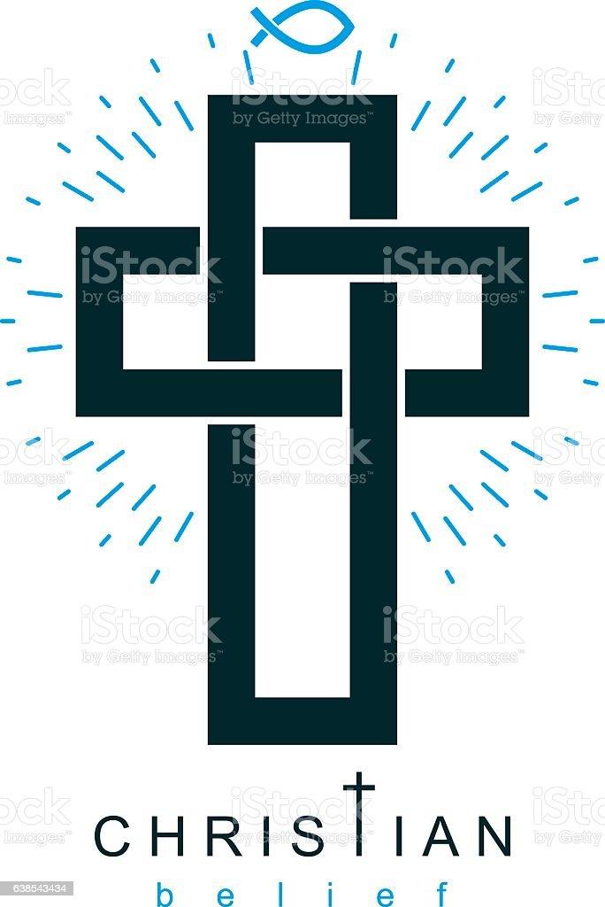 Christian Cross vector symbol, Christianity God religion icon. vector art illustration