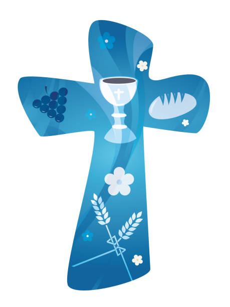 christian cross with chalice grapes bread and wheat ear. multiple exposure - communion stock illustrations, clip art, cartoons, & icons