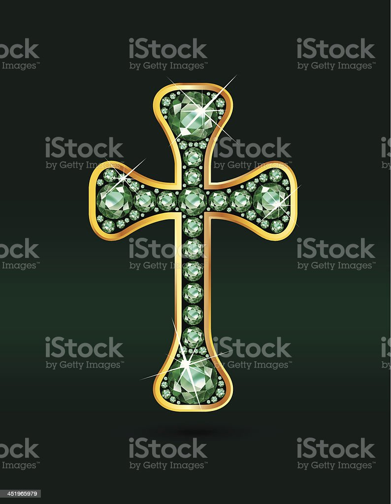 Christian Cross with Emerald Stones royalty-free stock vector art