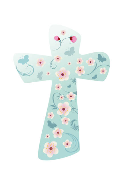 Christian cross with flowers – artystyczna grafika wektorowa
