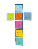 Christian cross with religious symbols. Cross with colorful squares Christian symbols