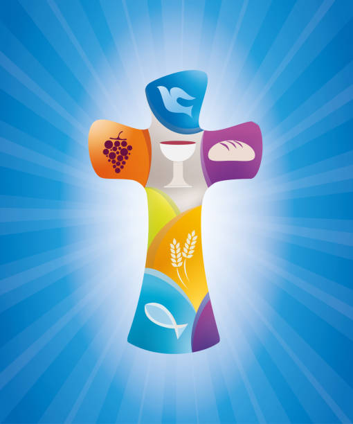 christian cross with symbols on a blue background with luminous rays - communion stock illustrations, clip art, cartoons, & icons