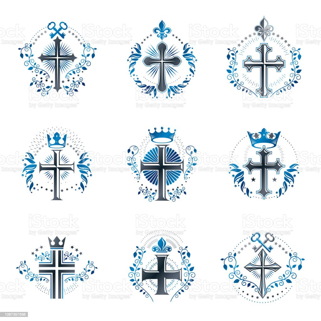 Conjunto de emblemas cruzes cristãs. Brasão heráldico logotipos decorativos isolaram coleção de ilustrações vetoriais. - ilustração de arte em vetor