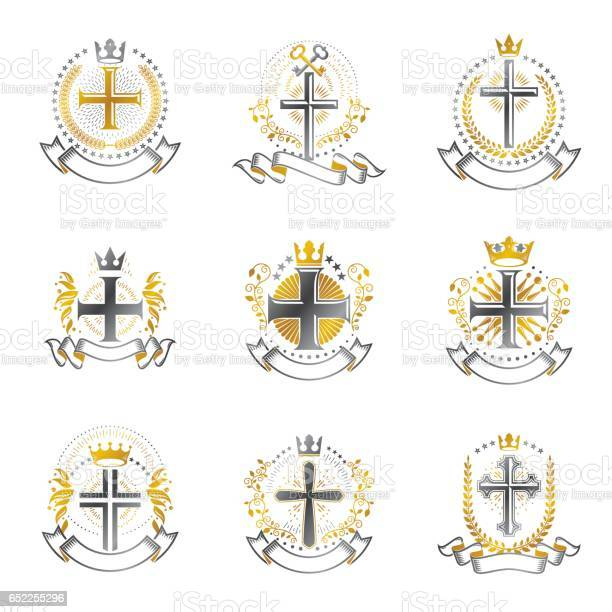 Christian crosses emblems set heraldic coat of arms decorative logos vector id652255296?b=1&k=6&m=652255296&s=612x612&h=z1mvia ukx4pcqrtuoyhrhar8l8x5jswujmojzxf0nk=