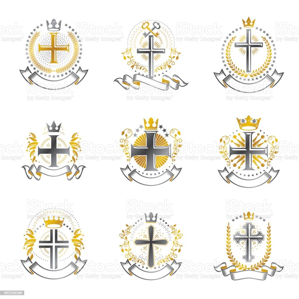 Christian Crosses emblems set. Heraldic Coat of Arms decorative logos isolated vector illustrations collection. vector art illustration