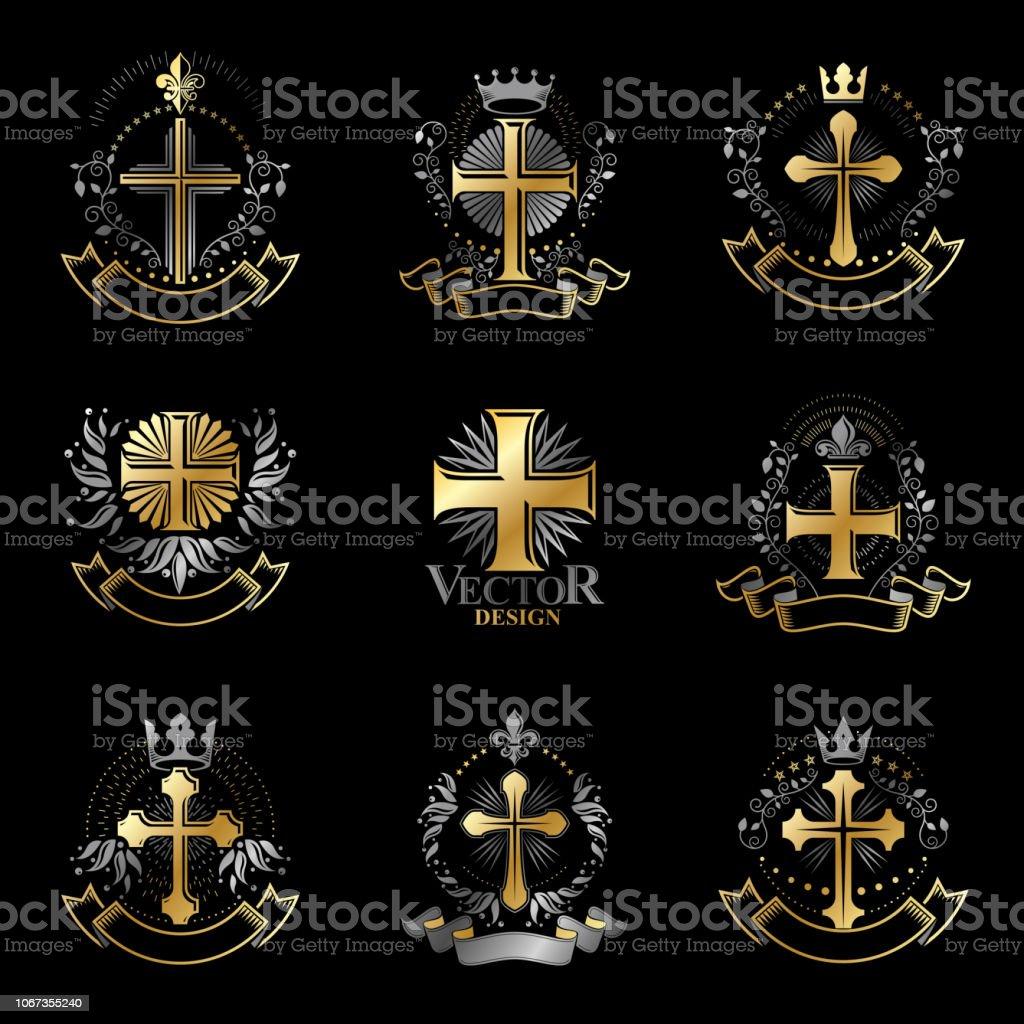 Conjunto de emblemas cruzes cristãs. Heráldica brasão decorativo assina coleção de ilustrações vetor isoladas. - ilustração de arte em vetor