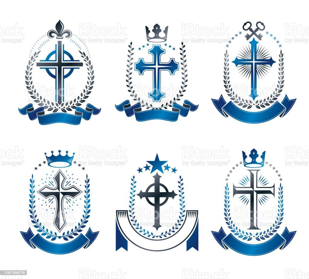 Conjunto de emblemas cruzes cristãs. Coleção de elementos de design vector heráldica. Rótulo de estilo retrô, heráldica. - ilustração de arte em vetor
