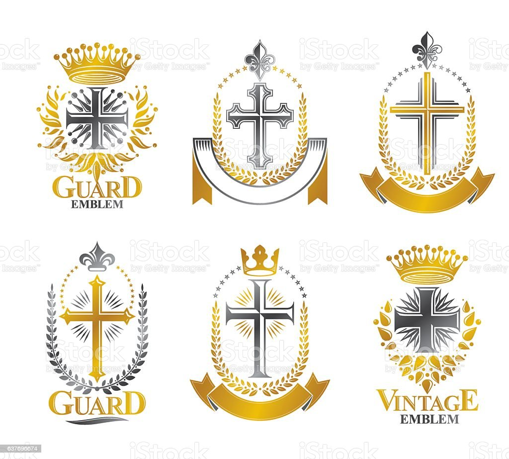 Christian Crosses emblems set. Heraldic vector design elements vector art illustration