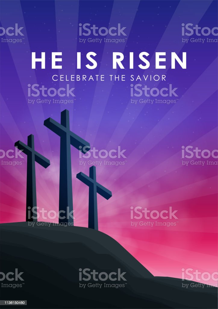 Christian easter scene, Saviour cross on dramatic sunrise scene, with...