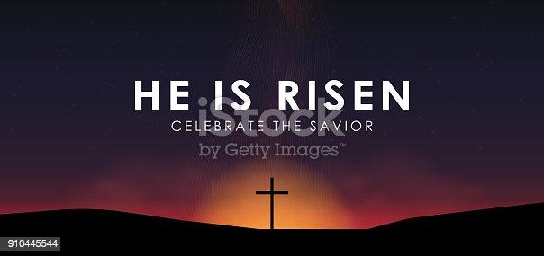 Christian easter scene, Saviour cross on dramatic sunrise scene, with text He is risen, vector illustration.