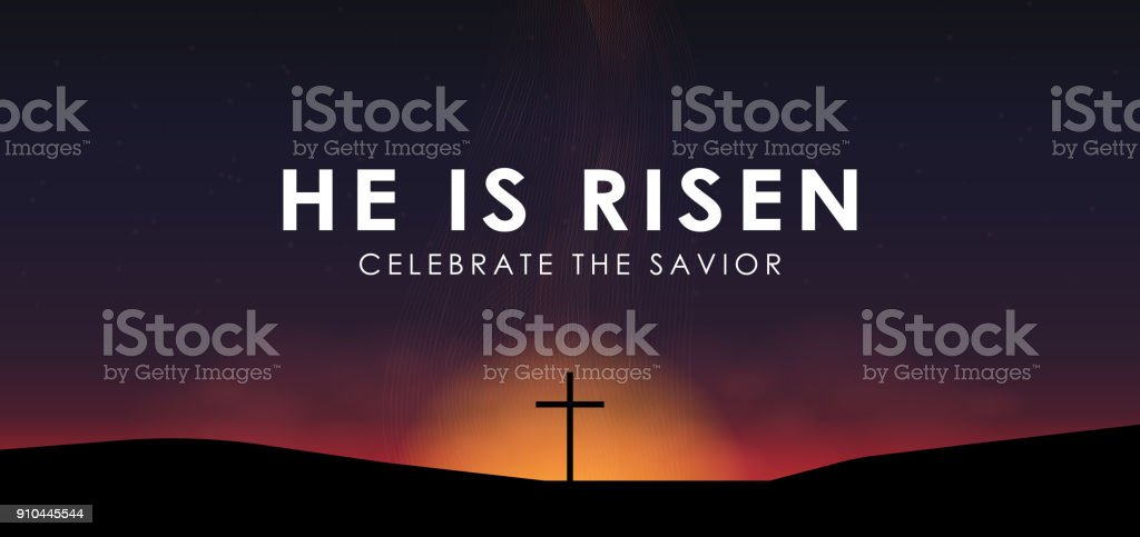 Christian easter scene, Saviour cross on dramatic sunrise scene, with text He is risen, vector illustration vector art illustration