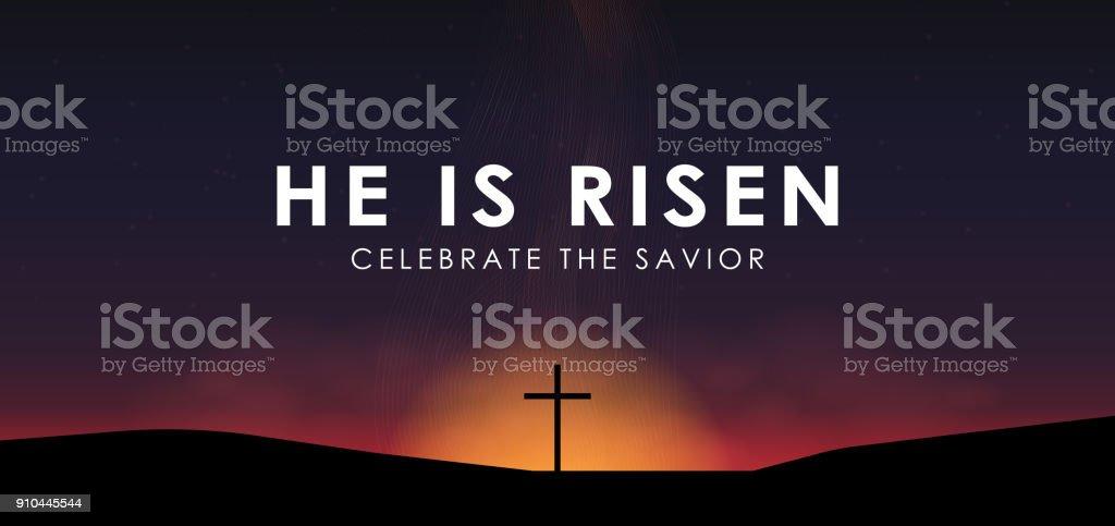 Christian scène de Pâques, Sauveur cross sur scène spectaculaire lever du soleil, avec le texte, il est ressuscité, illustration vectorielle - Illustration vectorielle